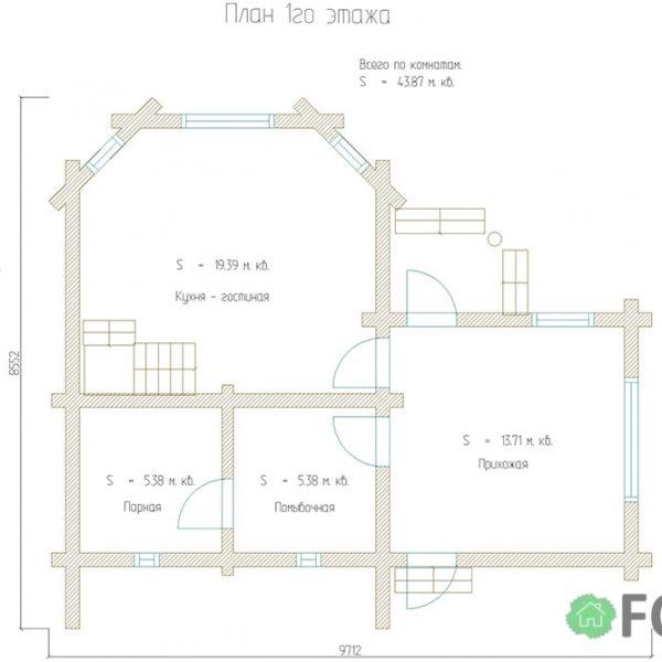 Дом-баня под ключ проект 75 м2